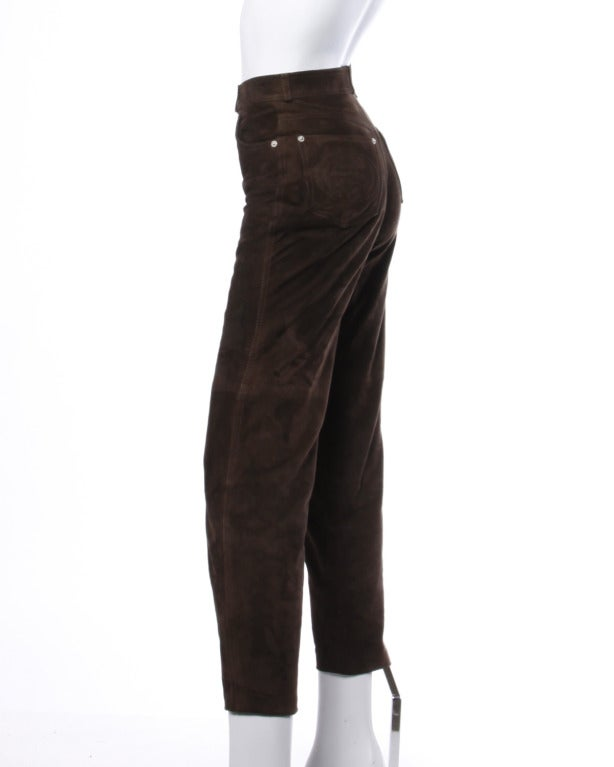 Gucci Brown Suede Leather High Waisted Pants with Embroidered Logo Pockets 4