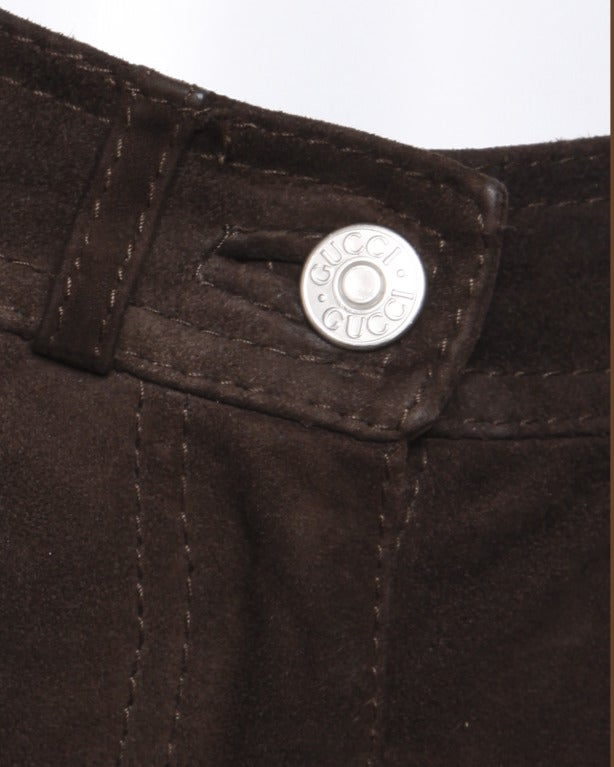 Women's Gucci Brown Suede Leather High Waisted Pants with Embroidered Logo Pockets For Sale