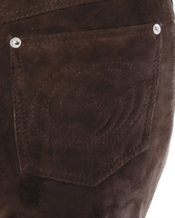 Gucci Brown Suede Leather High Waisted Pants with Embroidered Logo Pockets For Sale 1
