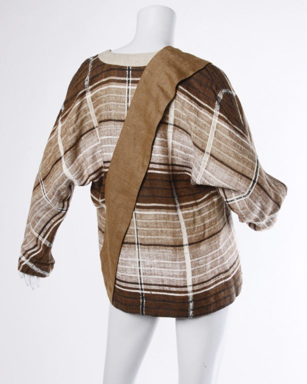 Gianni Versace Vintage 1980s Brown Plaid Linen/ Cotton Asymmetric Blazer Jacket In Excellent Condition For Sale In Sparks, NV