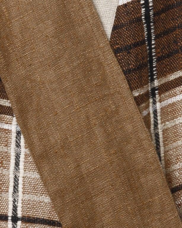 Women's Gianni Versace Vintage 1980s Brown Plaid Linen/ Cotton Asymmetric Blazer Jacket For Sale
