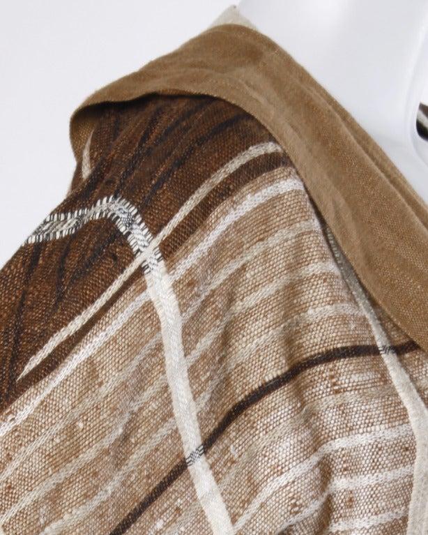 Gianni Versace Vintage 1980s Brown Plaid Linen/ Cotton Asymmetric Blazer Jacket For Sale 1