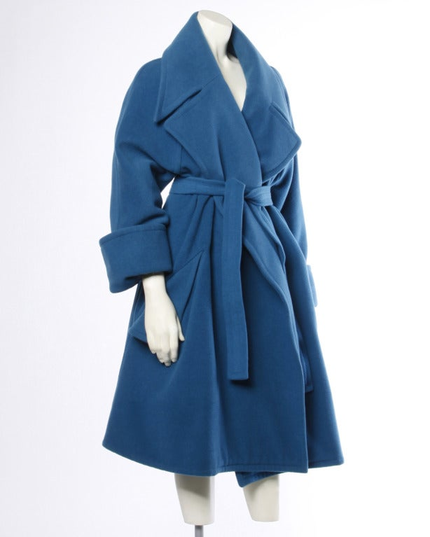 1990s Karl Lagerfeld Vintage Teal Blue Soft Angora Wool + Alpaca Trench Coat In Excellent Condition For Sale In Sparks, NV