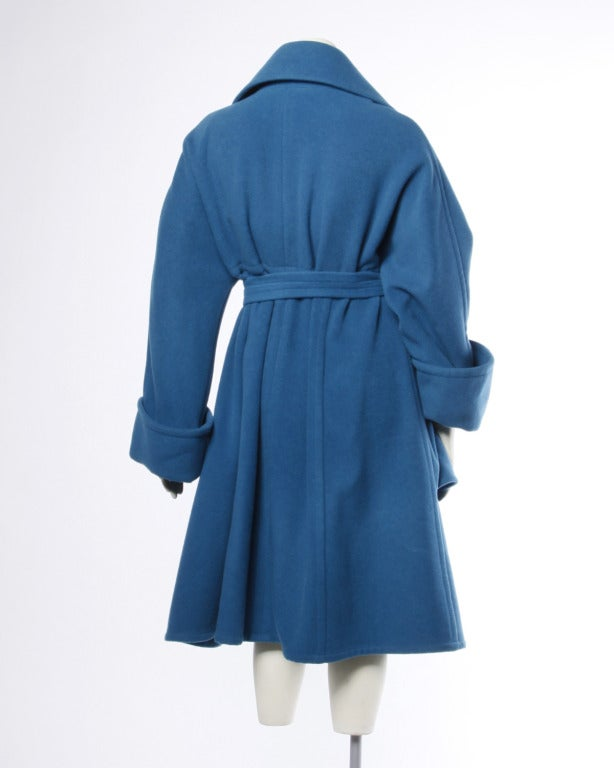 Women's 1990s Karl Lagerfeld Vintage Teal Blue Soft Angora Wool + Alpaca Trench Coat For Sale