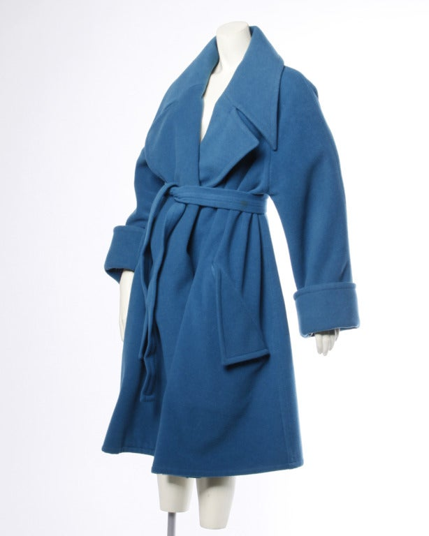 1990s Karl Lagerfeld Vintage Teal Blue Soft Angora Wool + Alpaca Trench Coat For Sale 1