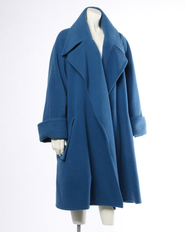 1990s Karl Lagerfeld Vintage Teal Blue Soft Angora Wool + Alpaca Trench Coat For Sale 2