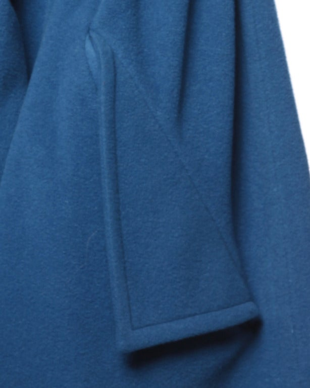 1990s Karl Lagerfeld Vintage Teal Blue Soft Angora Wool + Alpaca Trench Coat For Sale 3