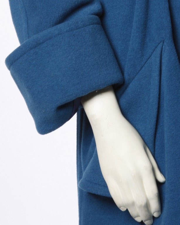 1990s Karl Lagerfeld Vintage Teal Blue Soft Angora Wool + Alpaca Trench Coat For Sale 4