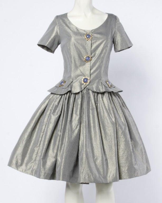 Oscar de la Renta 1980s Vintage Metallic Taffeta Party Dress Oversized Buttons 2