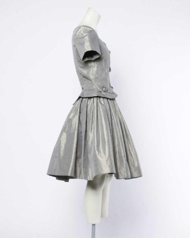 Oscar de la Renta 1980s Vintage Metallic Taffeta Party Dress Oversized Buttons 3