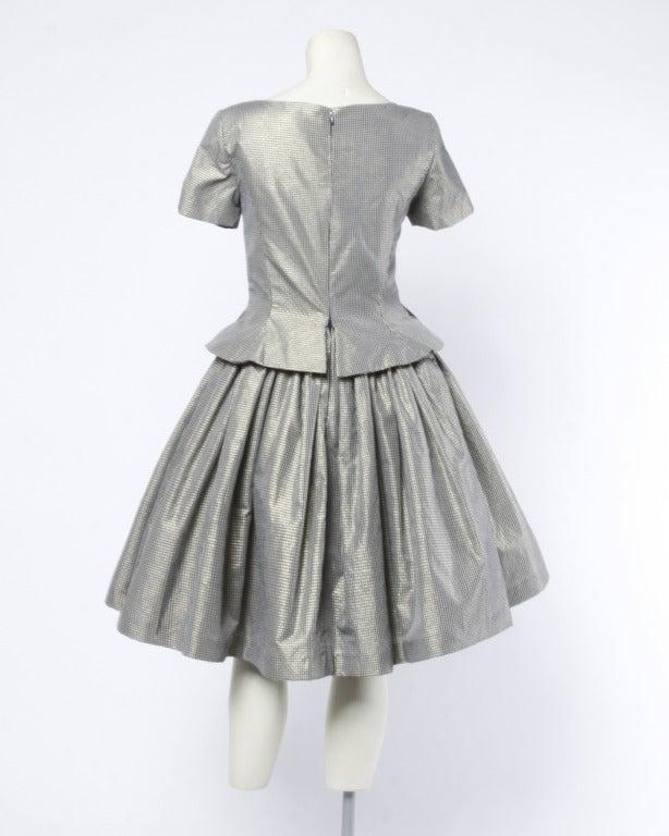 Oscar de la Renta 1980s Vintage Metallic Taffeta Party Dress Oversized Buttons 4