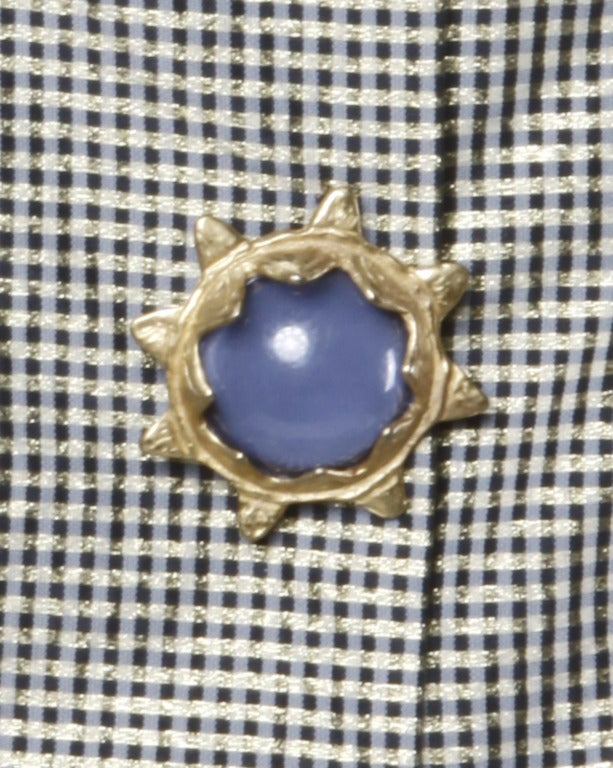 Oscar de la Renta 1980s Vintage Metallic Taffeta Party Dress Oversized Buttons 5