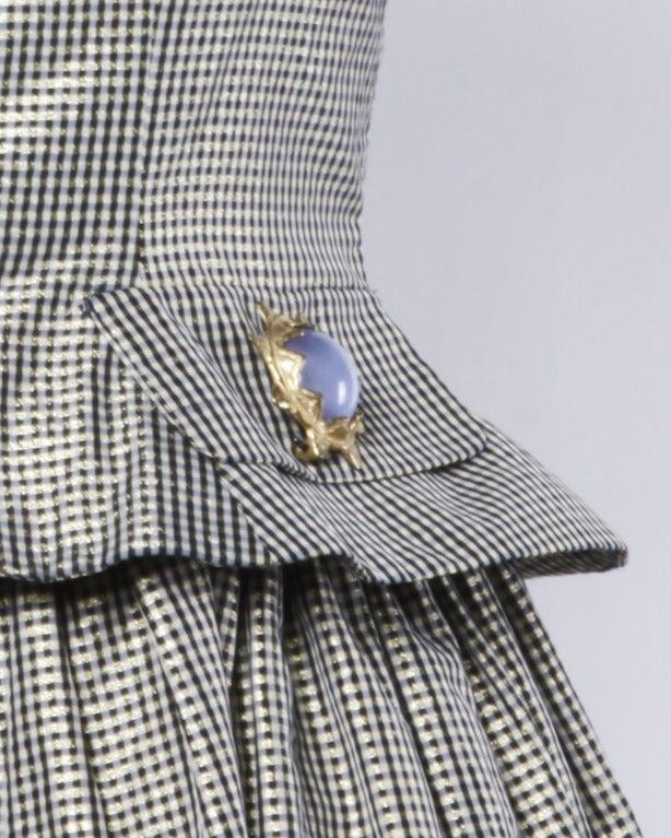 Oscar de la Renta 1980s Vintage Metallic Taffeta Party Dress Oversized Buttons 6