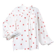 Krizia 90s 1990s Floral Print Button Up Blouse with Balloon Sleeves