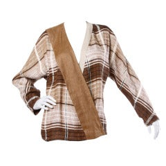 Gianni Versace Vintage 1980s Brown Plaid Linen/ Cotton Asymmetric Blazer Jacket