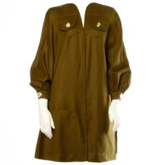 Christian Lacroix 1990s Olive Green Wool / Cashmere Military-Inspired Swing Coat