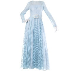 Victor Costa Vintage 70s 1970s Sheer Blue Lace Maxi Dress with Long Sleeves + Belt