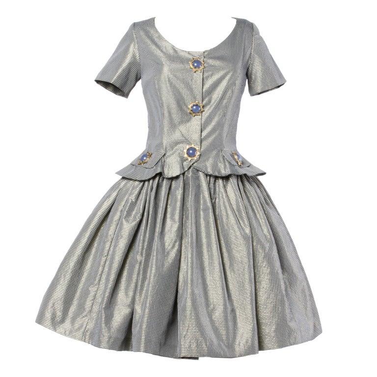 Oscar de la Renta 1980s Vintage Metallic Taffeta Party Dress Oversized Buttons 1