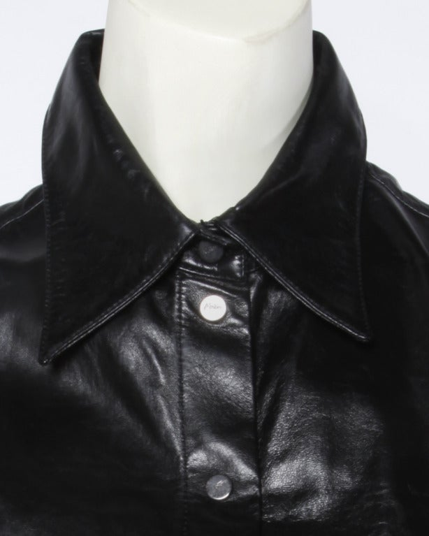 Claude Montana Soft Black Leather 80s 1980s Vintage Button Up Blouse Top with Cut Out Sleeves 10