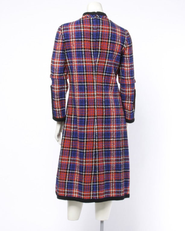 Oscar de la Renta Boutique Vintage 1960s 60s Plaid Coat Dress with Long Sleeves 3
