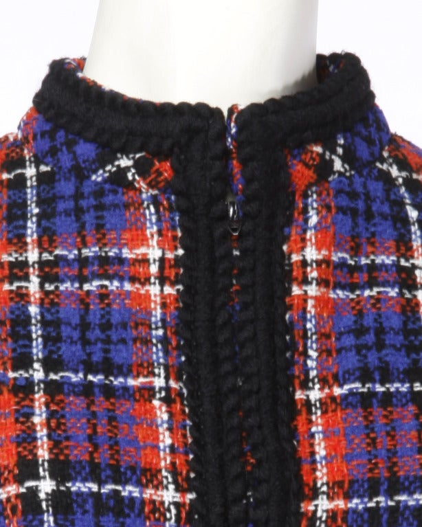 Oscar de la Renta Boutique Vintage 1960s 60s Plaid Coat Dress with Long Sleeves 5