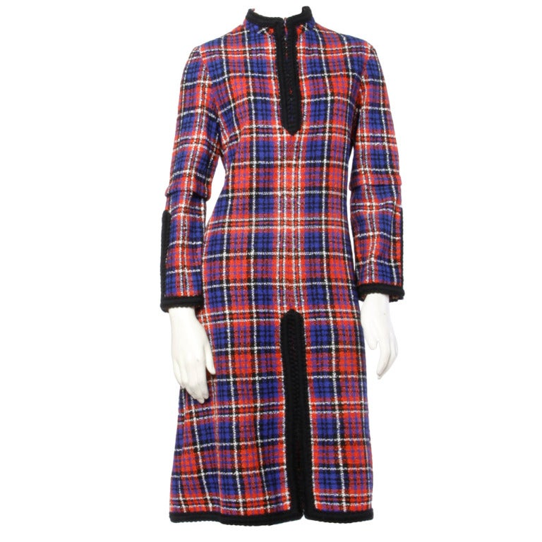 Oscar de la Renta Boutique Vintage 1960s 60s Plaid Coat Dress with Long Sleeves