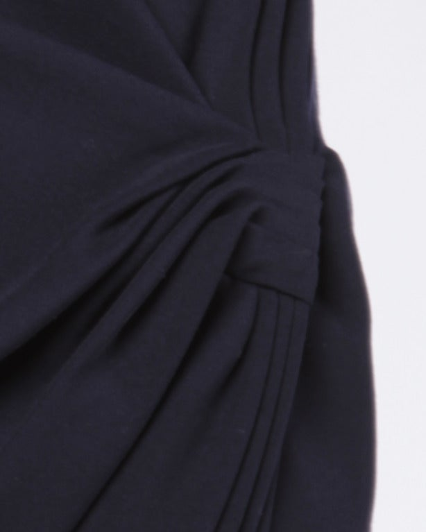 Gianni Versace Vintage 1990s Black Ruched Asymmetric Draped Body Con Skirt 4