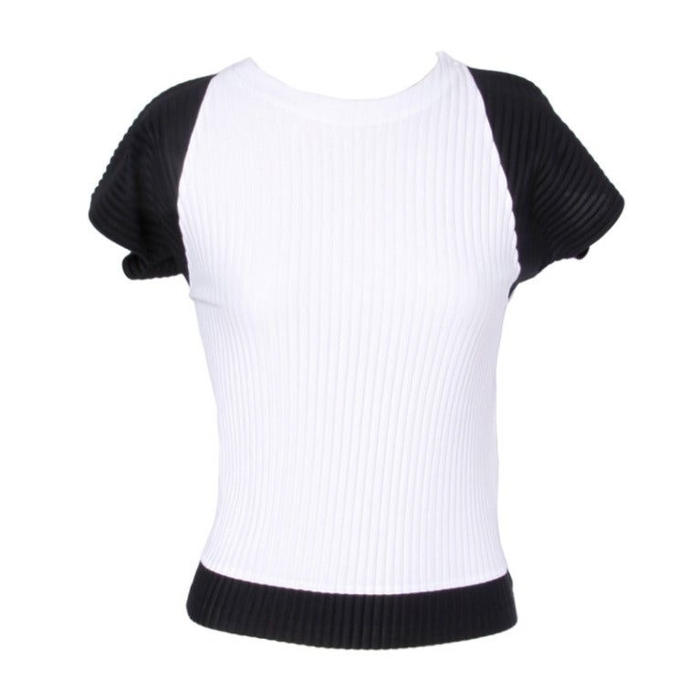 Issey Miyake 1990s 90s Black + White Pleated Two-Tone Shirt Top