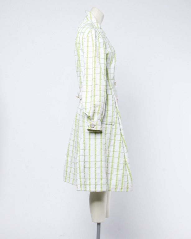 Elinor Simmons for Malcolm Starr Vintage 1960s Green + White Textured Plaid Coat 3
