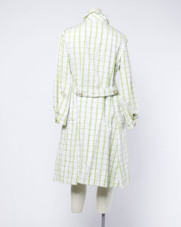 Elinor Simmons for Malcolm Starr Vintage 1960s Green + White Textured Plaid Coat 5