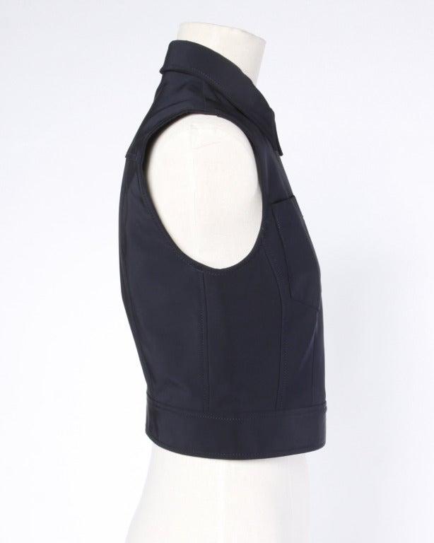 Prada Sleeveless Navy Blue Button Up Waistcoat/ Vest Top 3