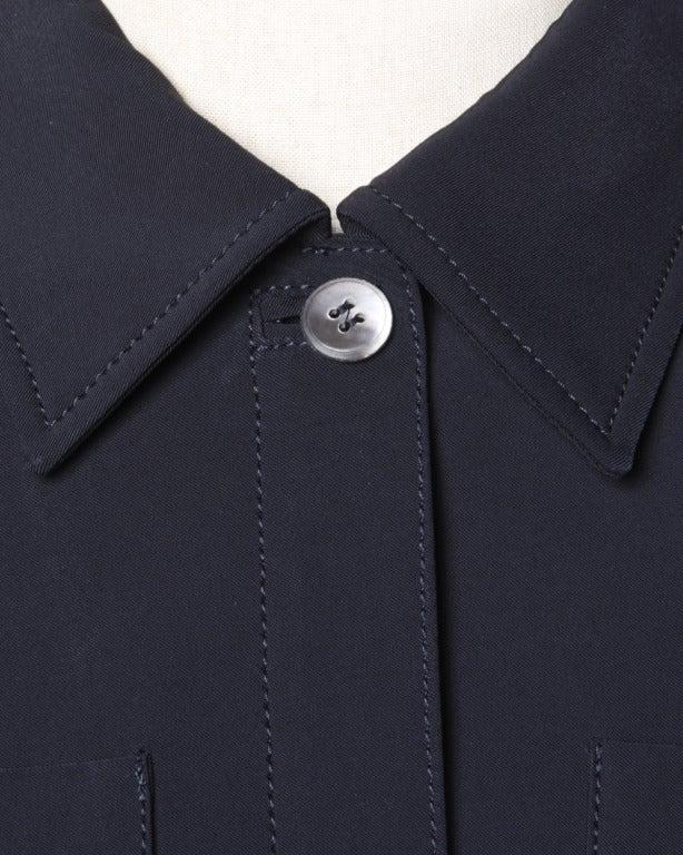 Prada Sleeveless Navy Blue Button Up Waistcoat/ Vest Top 4