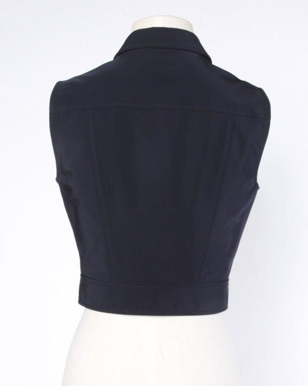 Prada Sleeveless Navy Blue Button Up Waistcoat/ Vest Top 5
