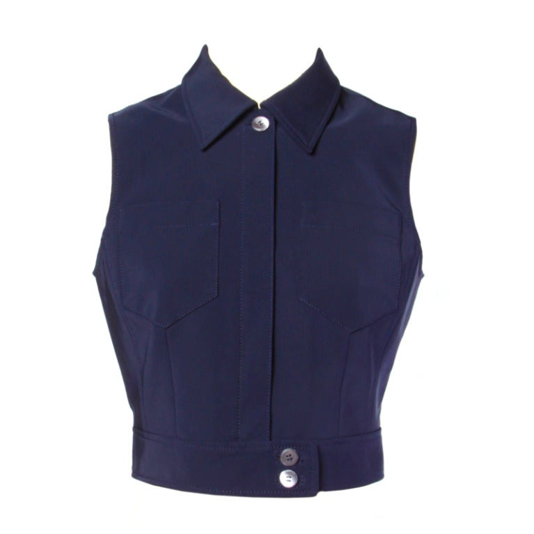 Prada Sleeveless Navy Blue Button Up Waistcoat/ Vest Top 1
