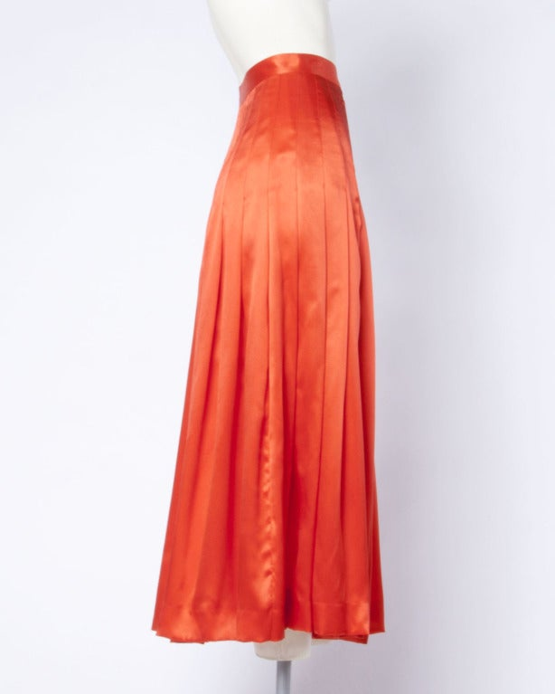 Gucci Vintage 80s 1980s Luxe Red-Orange Creamy Pleated Silk Midi Skirt 3