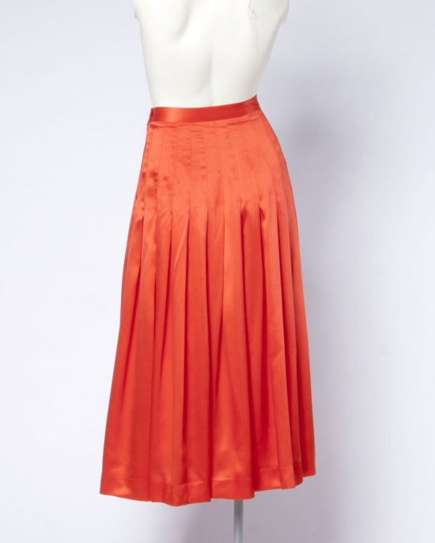 Gucci Vintage 80s 1980s Luxe Red-Orange Creamy Pleated Silk Midi Skirt 4