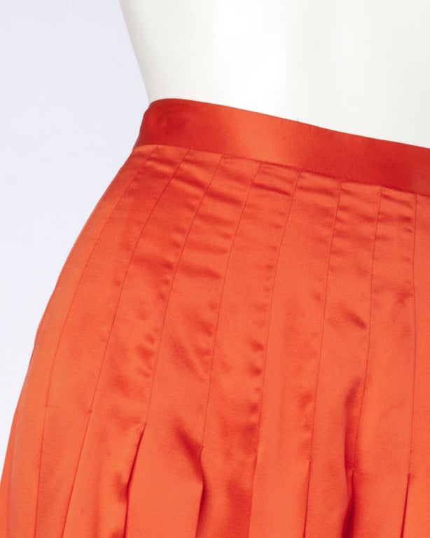 Gucci Vintage 80s 1980s Luxe Red-Orange Creamy Pleated Silk Midi Skirt 5