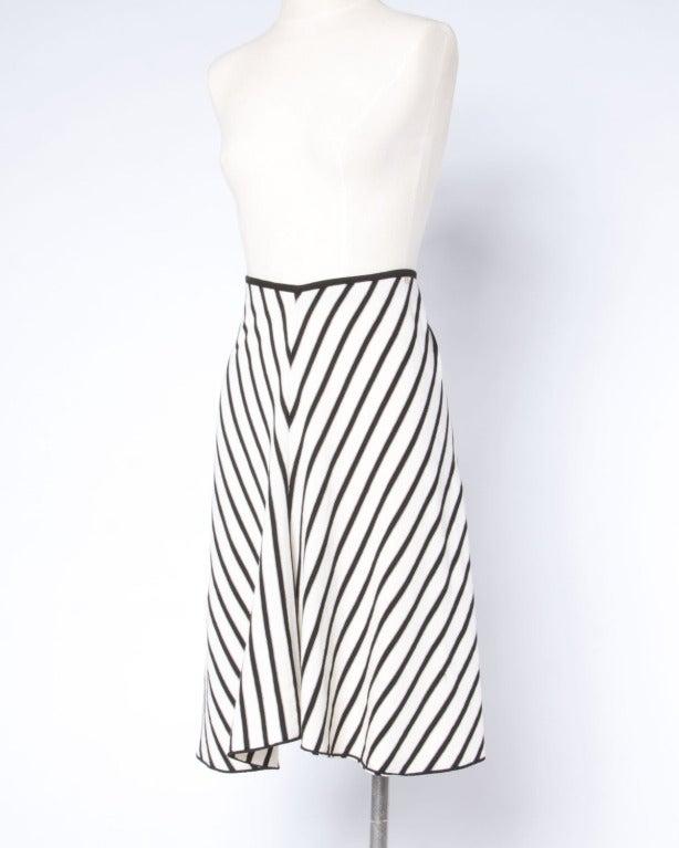 Gray Sonia Rykiel Black + White Chevron Stripe Knit A-Line Skirt For Sale