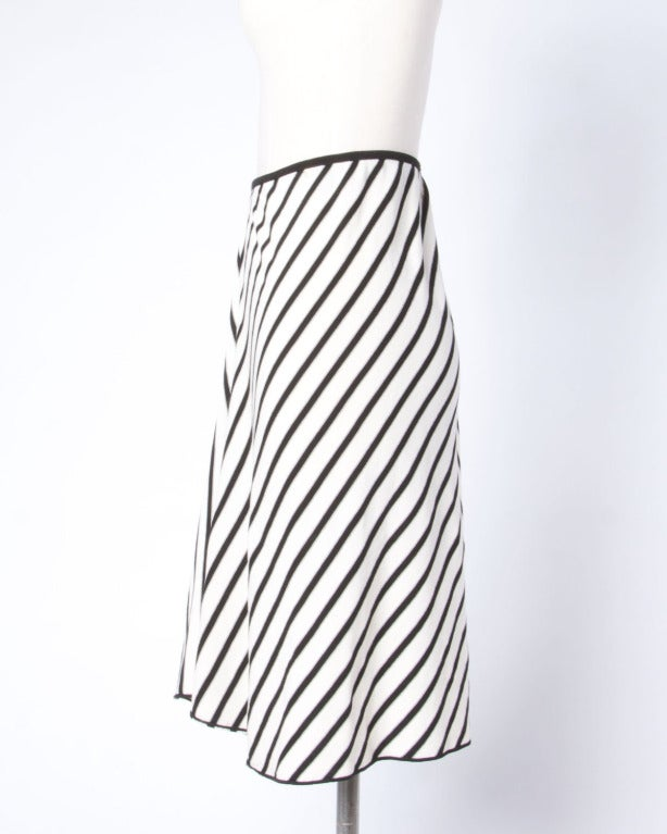 Sonia Rykiel Black + White Chevron Stripe Knit A-Line Skirt For Sale 1