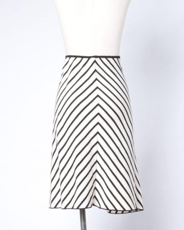 Sonia Rykiel Black + White Chevron Stripe Knit A-Line Skirt For Sale 2