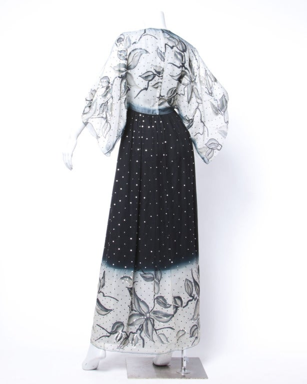 Gray Vintage 1970s 70s Hand-Painted Silk + Sequin Ombre Floral Maxi Dress/ Gown For Sale