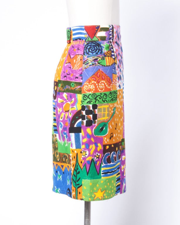 Amen Wardy  Vintage 1980s Bright Novelty Print Quilted Skirt 3