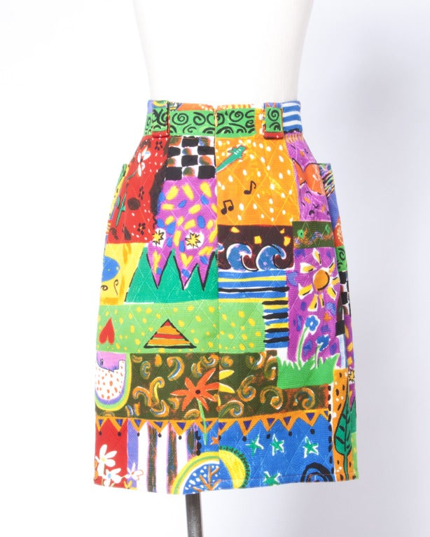 Amen Wardy  Vintage 1980s Bright Novelty Print Quilted Skirt 4