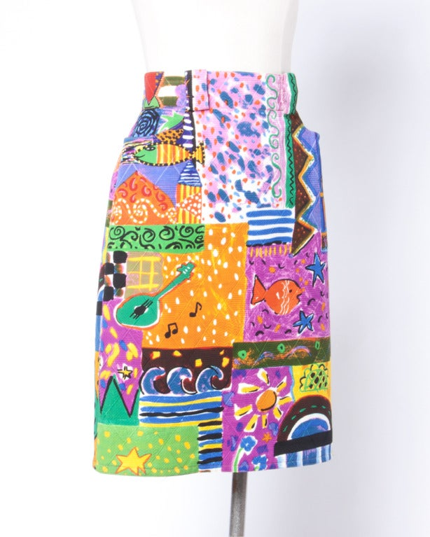 Amen Wardy  Vintage 1980s Bright Novelty Print Quilted Skirt 5