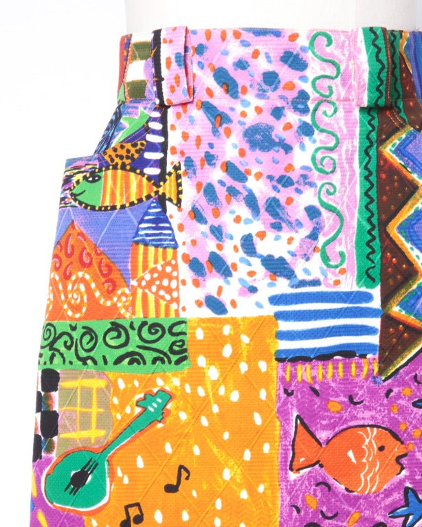 Amen Wardy  Vintage 1980s Bright Novelty Print Quilted Skirt 6