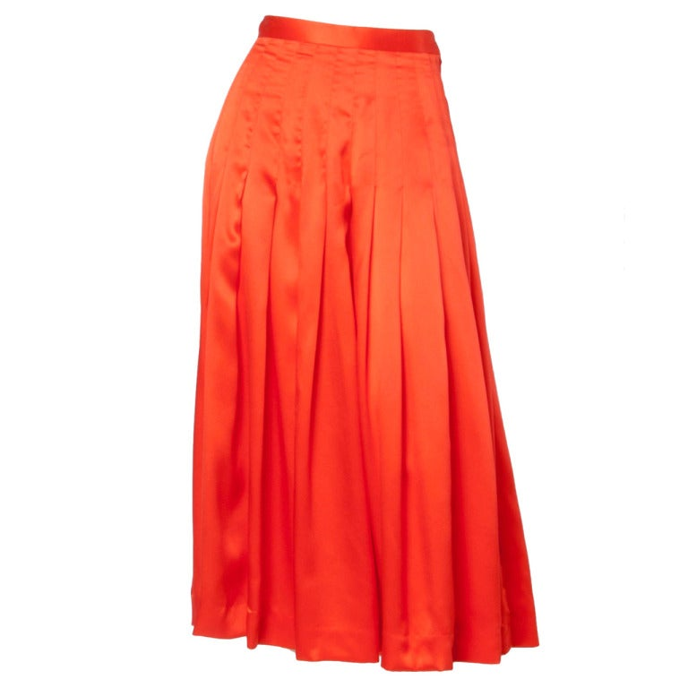Gucci Vintage 80s 1980s Luxe Red-Orange Creamy Pleated Silk Midi Skirt 1