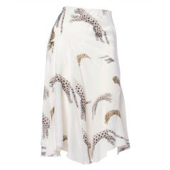 Roberto Cavalli Hand-Painted Leopards + Tigers Metallic White Silk Skirt