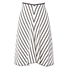 Sonia Rykiel Black + White Chevron Stripe Knit A-Line Skirt