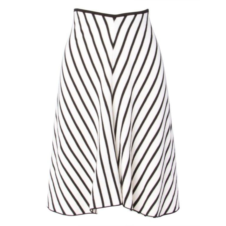 Sonia Rykiel Black + White Chevron Stripe Knit A-Line Skirt For Sale