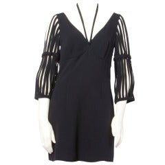 Moschino 1990s 90s Cut Out Cage Sleeves Little Black Dress